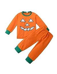 Bebogo Toddler Girls Boys Halloween Pajamas Pumpkin Tops Legging Pants Sleepwear Set