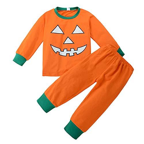 Unisex Toddler Girls Boys Halloween Pajamas Kids Pumpkin Face Tops Matching Legging Pants Sleepwear Clothes Set