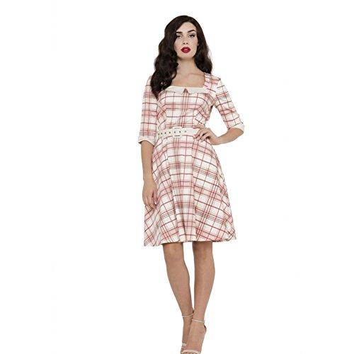 Womens-Voodoo-Vixen-Veronica-Plaid-Flare-Dress-Pink
