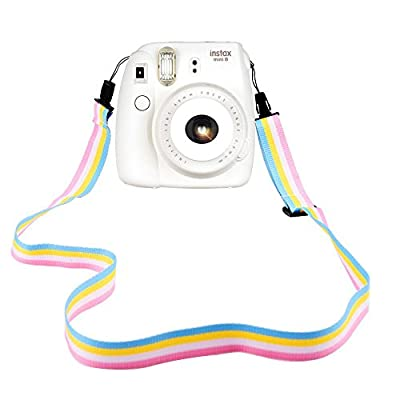 Elvam Camera Neck Shoulder Strap Belt in Rainbow Blue Yellow White Pink Color for Digital Camera / Fujifilm Instax Camera Mini 8 / Mini 8+ / Mini 7s / Mini 25 / Mini 50s / Mini 90 from Elvam