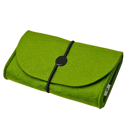 Litop® 5.5*3.3*1.6 Inches Carrying Felt Sleeve Case Bag Travel Organizer for Computer Electronics Cell Phone Accessories Essentials MP3 MP4 Logitech Apple Magic Mouse Charger Adapter Cord Connector Cable Memory Card Cellphone USB Flash Drive (Felt Bag-Green)