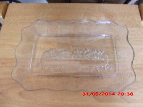 Rare Vintage Indiana Glass Co. Clear Glass Lords Last Supper Bread Plate Platter 11x7 Inches