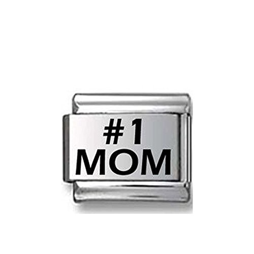 (SEXY SPARKLES Mom with Rose Italian Link Bracelet Charm)