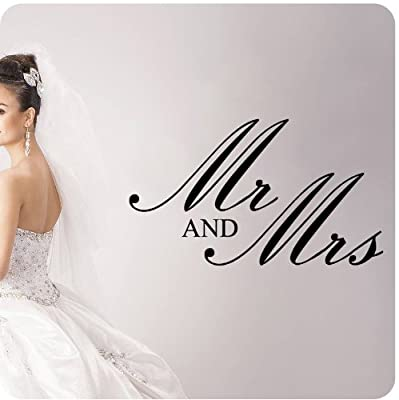 Mr. And Mrs. Wedding Anniversary Celebration Party Gift Wall Decal Quote Large Sticker ART Mural Large Nice Bride Groom Love Decoration Decor