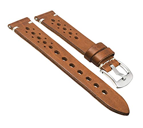 Hand Made Genuine Vintage Full Grain Leather Watch Strap with Quick Release Spring Bars - Tan - ()