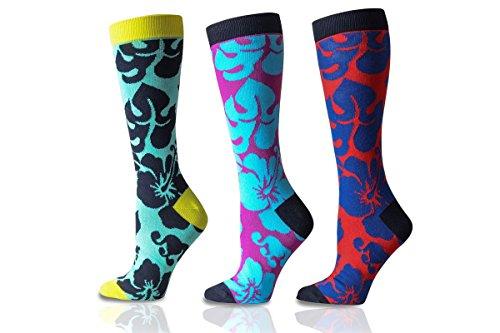 Men's Premium Cotton Printed Dress Socks 3-Pack (Aloha, 10-13) ()