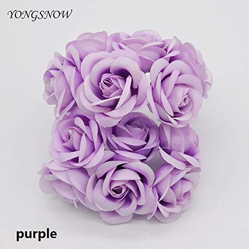 Decorative Wreath - 12pcs Decorative 5cm Artificial Flower Fake Silk Fabric Rose Bouquet Handmake Craft Diy Scrapbooking - Branches Small Bows Door With Holder Indoors Adjustable Stand Year