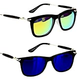 Younky Uv Protected Combo Of 2 Wayfarer Men's, Women's, Boy's, Girl's Sunglasses - (Ynss_Gm-Bm|55|Blue)