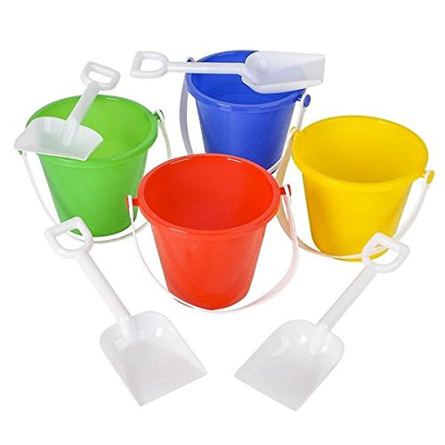 Neliblu Beach Sand Pails With Shovels Pool Party Toys 5.5'' Bulk Party Set Play Sand Buckets (6 Shovel and Pail Sets) By