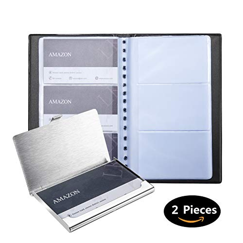 Business Card Organizer Faux Leather Business Card Holder Book + Business Card Case 2PC Set