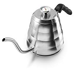 Apace Living POUR OVER COFFEE KETTLE with Tea Scoop and Table Coaster – Stainless Steel Gooseneck Drip Kettle w/ Built in Thermometer (1.2L / 40oz)