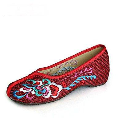Cómodo y elegante soporte de zapatos de las mujeres pisos comodidad tela de primavera verano otoño al aire libre atlética vestido Casual flores luz roja marrón beige Walking marrón claro