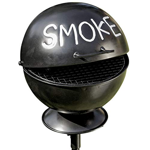 WHW Whole House Worlds Smoke Ashtray Garden Stake, Lidded Dome with Pedestal Base, BBQ Grill Party Style, Black Lacquered Iron,5 Diameter x 44 1/2 H inches