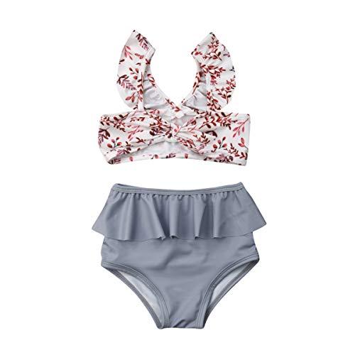 Turuste Newborn Toddler Girls Bikini Swimsuits Sleeveless Tops Triangle Bottoms with Headband Leopard Bathing Suits