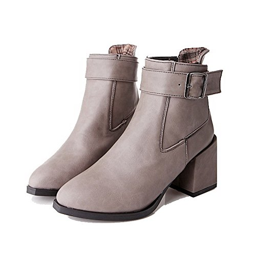Women's Heels Buckle Boots Gray Top Low AmoonyFashion Solid Pu High v70nqdHHUw