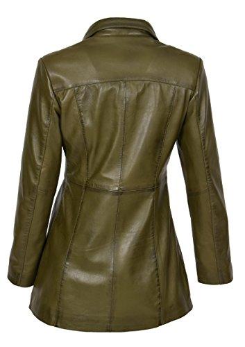 Veste En Pour Vert Style Manteau Longueur Cuir Décontracté Mince Ajustement Dames Olive Kendall Zip rrEdqw