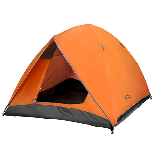 MoKo 2-3 Person Camping Tent, Rainproof Double Layer Family Outdoor Instant Cabin Tent, 4-Season Portable Dome Sun Shelter for Hiking, Backpacking, Trekking, Mountaineering, Beach - Gray + - Cabin Family Tent Dome