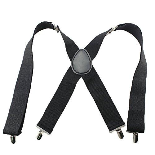 Bretelle Réglable Avec 4 Clips de Bande Noir Elastique 5CM de Large sur Pantalon Pour Homme