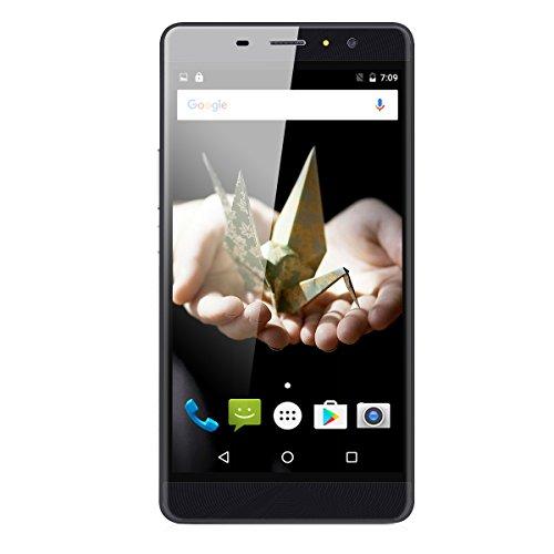 Landvo Max 6.0 Zoll 3G-Smartphone Android 6.0 IPS Screen MT6580 Quad Core 1.3GHz Handy ohne Vertrag Dual SIM 1GB RAM+16GB ROM Cellphone Dual Kamera Smart Wake Fingerprint WIFI Gold