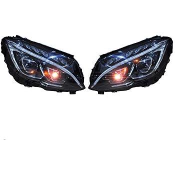 Amazon com: LED Headlights Front Lamps PAIR Fits Mercedes C