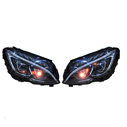 2PCS Headlight Assemblies For Mercedes-Benz C-Class W205 2015 2016 2017 2018 Bi-Xenon Lens Projector Double Beam Xenon HID KIT With LED Daytime Running Lights