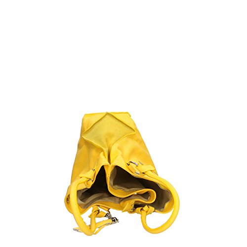 en Jaune en 36x28x17 main véritable Chicca Cm Borse Sac cuir fabriqué Italie à Femme XTRwzxqO