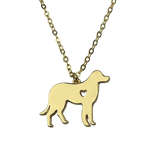 Art Attack Goldtone I Love My Dog Lover Heart Outline Labrador Retriever Puppy Rescue Pendant Necklace