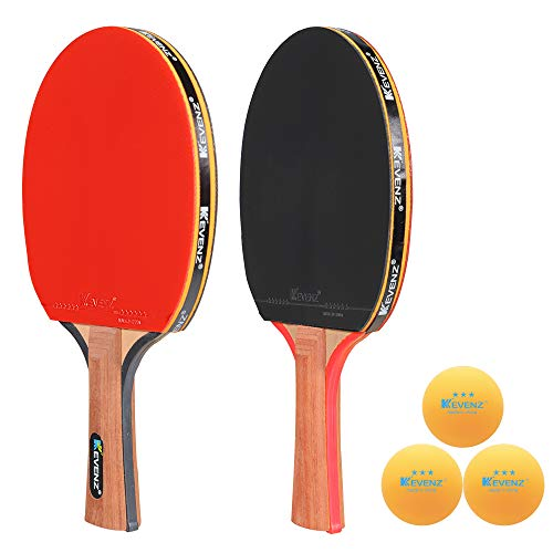 Blade Wooden Handle - KEVENZ Patent Advanced Table Tennis Racket Come with Anti-Skid Handle, Wooden Blade Surrounded by Rubber, That Make Easier to Hold The Handle and Speed up The Ball Speed(2/4-Pack ping Pong Paddle)