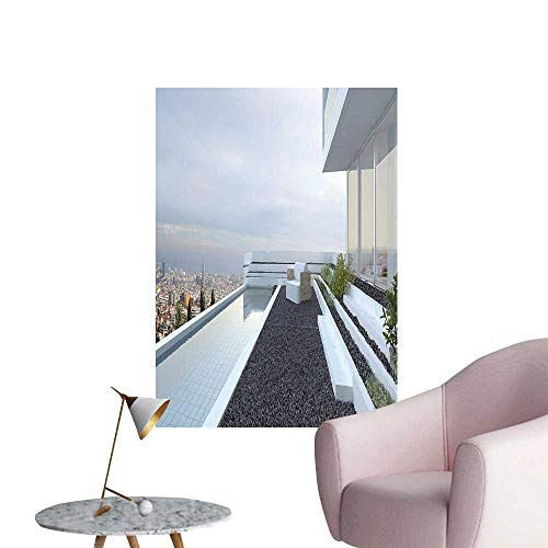 Wall Art Prints Contemporary Luxury House with Panoramic View Patio Pebbles Pool White Baby Blue Grey for Living Room Ready to Stick on Wall,28