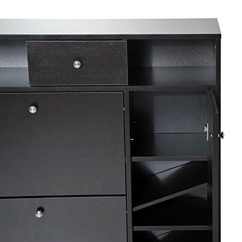 Flipboard Homcom Wooden Multi Cabinet Flip Down Shoe Shelf Drawer