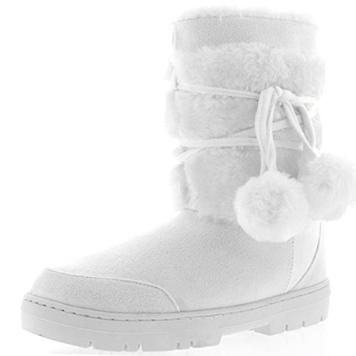 Womens Pom Pom Fully Fur Lined Waterproof Winter Snow Boots, Size 11, White