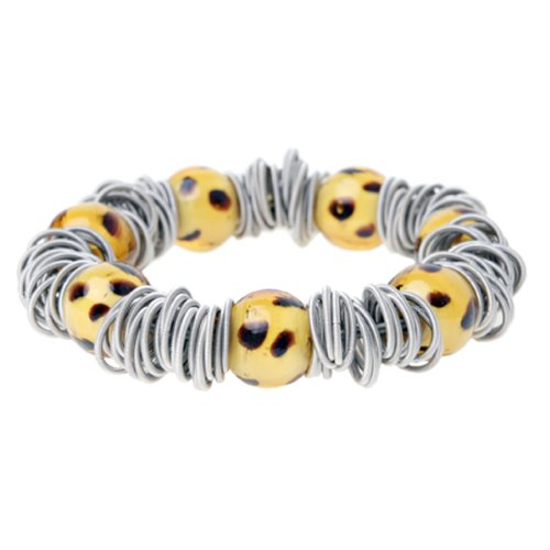 Mille Lucci Leopard Jazz Murano Glass and Sterling Silver Bingle Bangle Bracelet by Willow Company