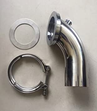 "Stainless Steel 4/"" Modular Down Pipe with 3/"" V Band Inlet /& Bungs"