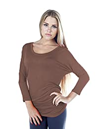 Hollywood Star Fashion Women's Long Sleeve Ruched Shirring Side Dolman Tunic Top