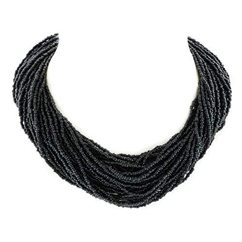 Luscious 40 Strands 18'' Onyx Black Seed Beads Choker Necklace YE-3128