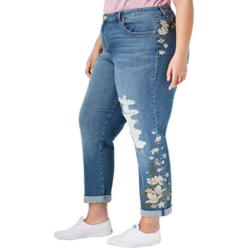(Style & Co. Womens Plus Denim Curvy Fit Boyfriend Jeans Blue 20W)