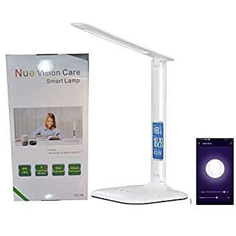 Voice APP Control Wifi Smart Led Desk Lamp Eye care Lamp reading study light with 3 Lighting Mode, 5 Level Dimmer, Touch Control, Clock, Calendar, Thermometer Smart Home Lighting, Google Home Alexa control desk lamp