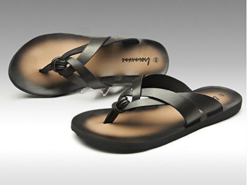 Happyshop (tm) Mode Retro Koskinn Sommaren Utomhus Flip Flop Sandal Strand Toffel Mens Halka På Komfort Sandal Sko Svart (stil B)