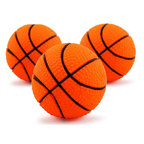 1 Pack Pet Squeaky Basketball Toy Cat Dog Catching Toys Kitten Molar Chewing Toys Biting Cleaning Teeth Toy for Dog Puppy Cat Kitten