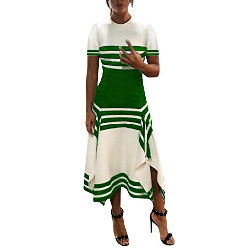 - Sunhusing Ladies Casual Round Neck Striped Print Short-Sleeve Waist Slim Irregular Hem Colorblock Party Dress Green