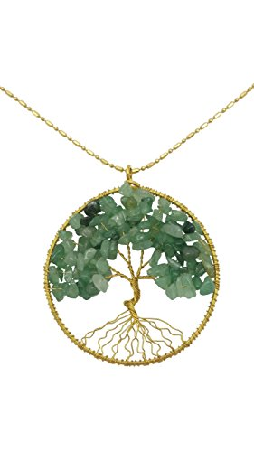 dew-drops-simulated-green-aventurine-pendant-tree-of-life-brass-long-necklace-gemstone-jewelry