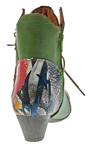 Damen Stiefeletten echt Leder Stiefel Muster variieren Comfort Schuhe TMA 7707 Boots 36 - 42 Grün