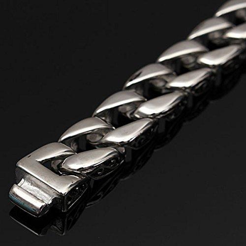 Retro Pattern Mens Stainless Steel Bracelet Silver Tone Chain