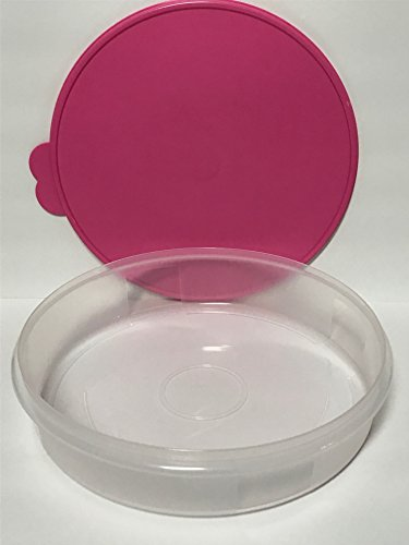 """Tupperware 12"""" Large Pie Carrier Clear with Pink Seal"""