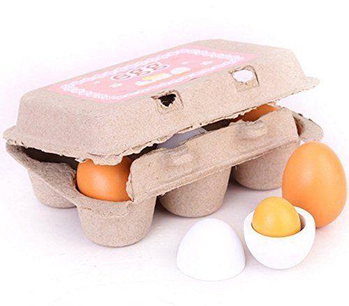 Zhisheng You 6 Pcs Carton Wooden Play Eggs Assembling Kids Gift Pre-School Educational Toy Kitchen Food]()