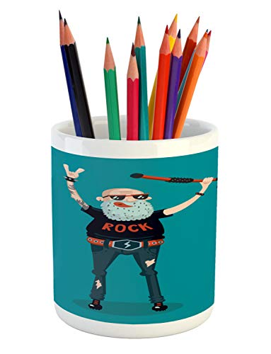 Ambesonne Retirement Party Pencil Pen Holder, Cartoon Illust