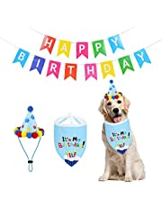Set of 3 Dogs Party Supplies Dog Birthday Bandana with Happy Birthday Banner and Doggie Birthday Party Hat for Puppy Birthday Decoration