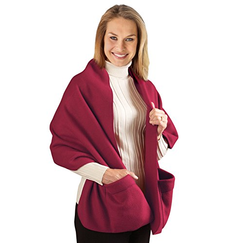 Cozy Fleece Wrap Shawl With Large Front Pockets - Keeps Hands and Shoulders Warm During Cold Winter Season, Burgundy