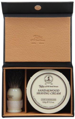 Taylor of Old Bond Street Luxury Shaving Gift Set Box - Sandalwood Shaving Cream & Pure Badger Shaving Brush *NEW*