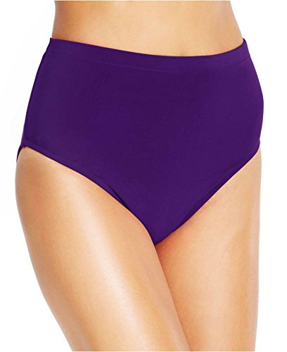 MIRACLESUIT Swimsuit Basic High Waist Solid Pant Brief Bikini Bottom,Eggplant,16 - Separates Basic Pant